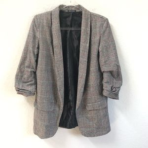 Plaid Blazer Open Front Ruched Sleeves